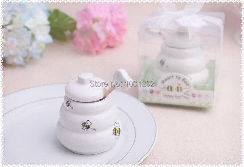 """¡Envío gratis! ¡200 Uds.! suministros de boda """"significa para abeja"""", pote de cerámica para miel con cucharón de madera para ducha"""
