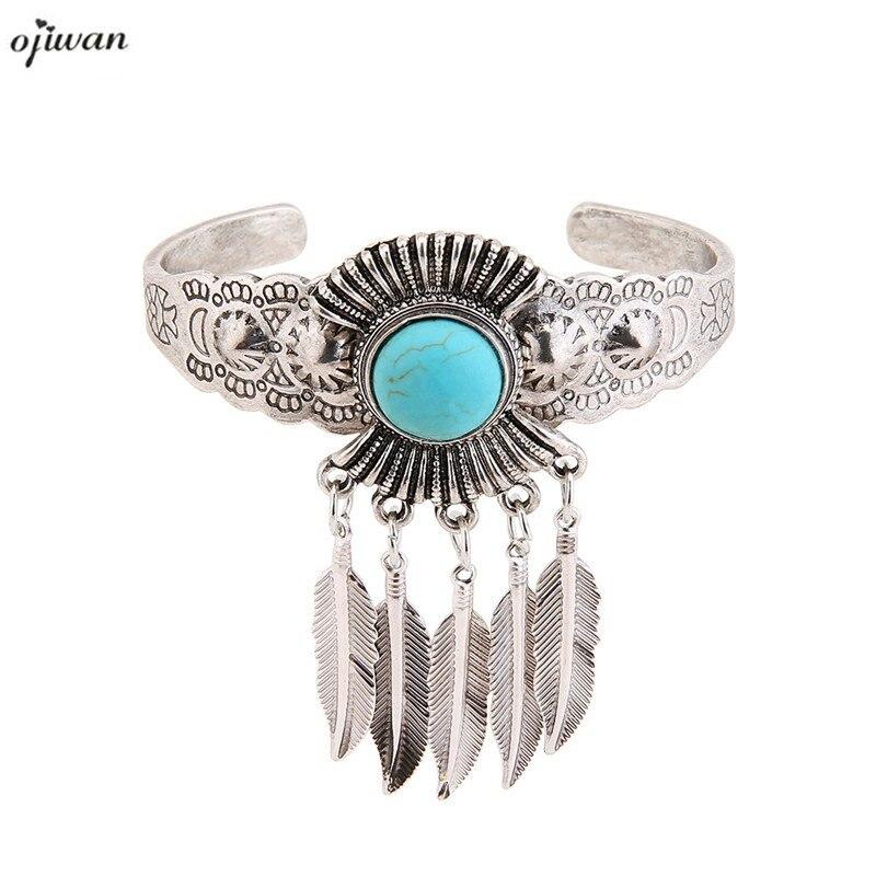 Boho vintage aberto pulseira para mulher tribal pena charme bangle com pedras boêmio jóias étnicas 2019