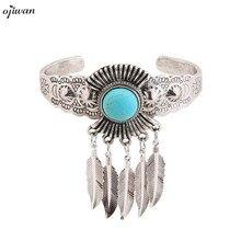 Vintage Boho Open Bracelet For Women Tribal Feather Charm Bangle With Stones Bohemian Ethnic Jewelry 2019