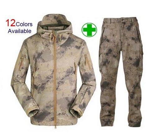 Hombres TAD 4.0 suave Conchas camuflaje chaqueta al aire libre deporte impermeable chaqueta Caza ropa Militar chaqueta + pantalones