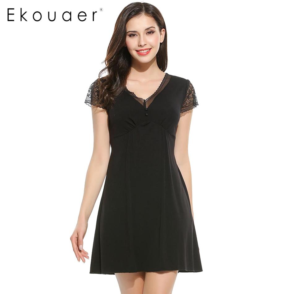 Ночная рубашка Ekouaer, черная, с коротким рукавом