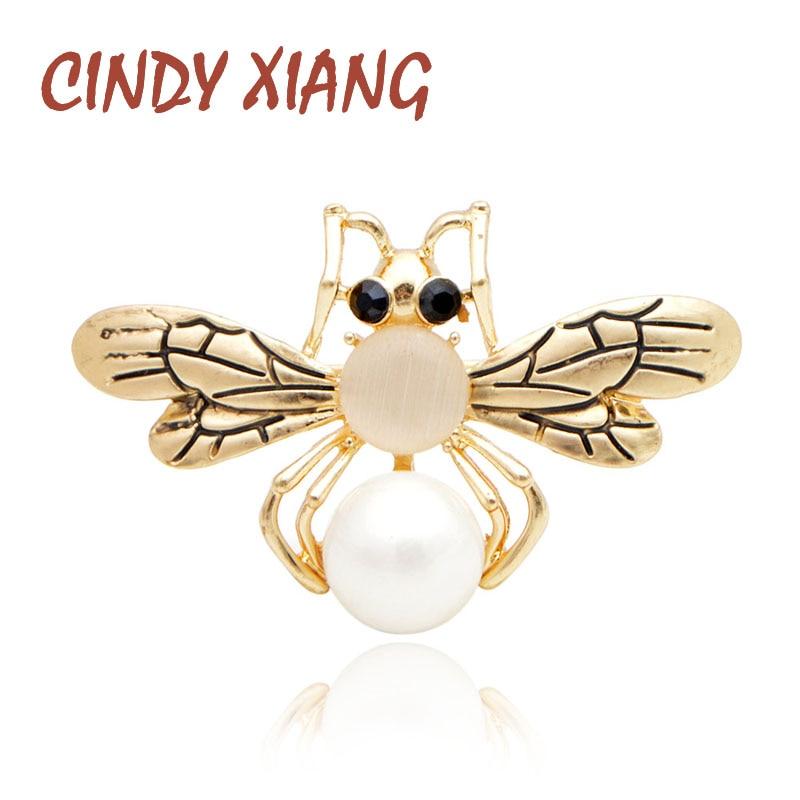 ¡Novedad! Broches de abeja de perlas CINDY XIANG para mujer, bonito broche de insecto pequeño de Color dorado, broche de abeja, camiseta de verano a la moda, Pin