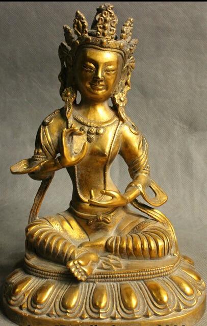 "JP S0608 8 ""tibet, Budismo de bronce dorado verde diosa Tara Kwan-Yin Meitreya estatua de Buda"