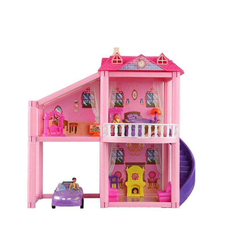 Вилла с 2 полами, 3 комнаты + 1 вилла с парковкой + 1 наружная лестница, кукольный домик, сборный набор для сборки, строительные игрушки со всеми ...