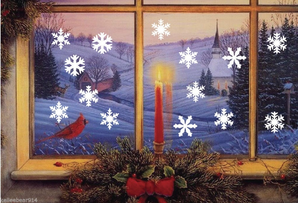 14 unids/set Feliz navidad copo de nieve etiqueta engomada de vinilo de...
