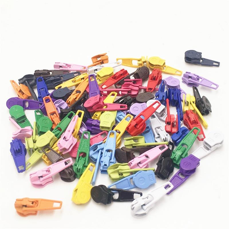 Deslizador de cremallera de Metal con pintura de colores mezclados 100 Uds para Cremallera de nailon 3 #, Multicolor 3 # tirador de cremallera para nailon, Kits de costura DIY