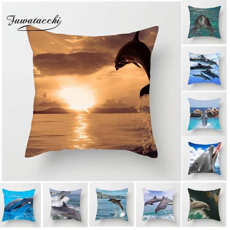 Funda de cojín de peces Fuwatacchi para sofá, decoración del hogar, funda de almohada de delfines para coche, hogar, habitación, funda de almohada decorativa