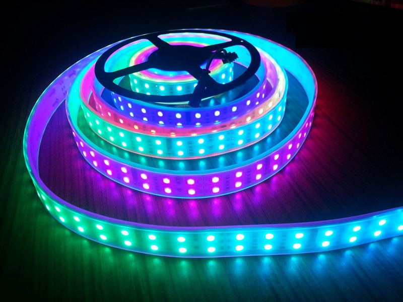 20m DC12V120Led/M RGB LED cinta Flexible 5050SMD RGB fita led TM1812 IC doble fila IP67 tubo impermeable IP30 Led cinta de luz