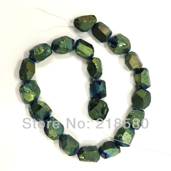 H-TB40 Green Titanium Quartz Beads, Green Cystal Nugget Beads, green Quartz Beads, Rock Crystal Beads