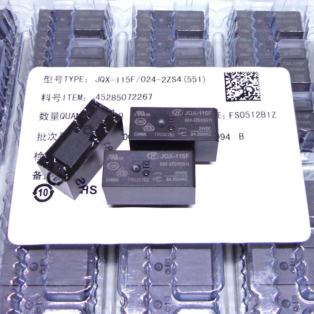 HF التتابع 50 قطعة HF JQX 115F 005 012 024 2ZS4 551 8A 5V 12V 24V 2CO JQX-115F HF115F تتابع جديدة ومبتكرة