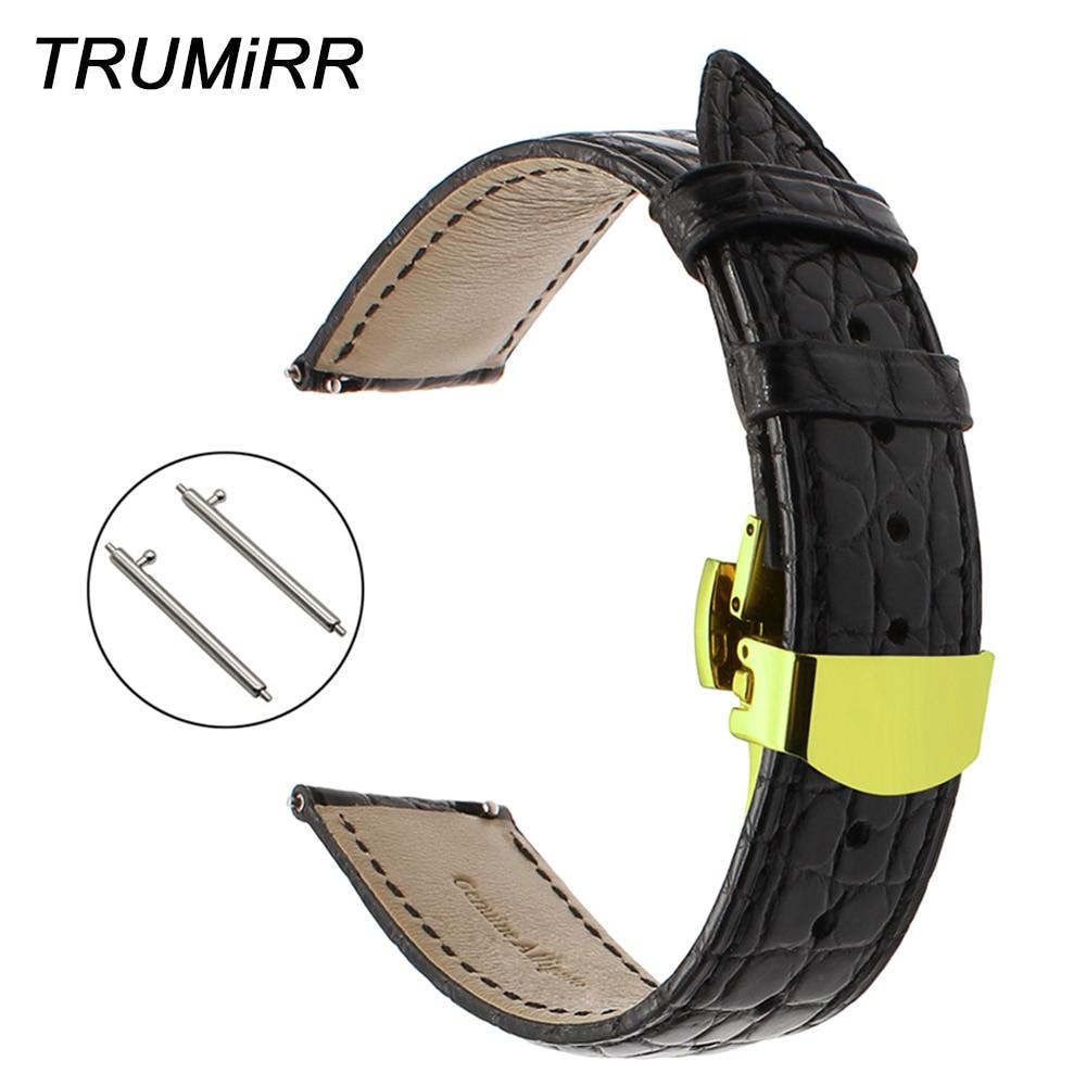 18mm 20mm 22mm Genuine Alligator Leather Watchband for Tissot Luminox Hamilton Seiko Citizen Quick Release Strap Watch Band Belt