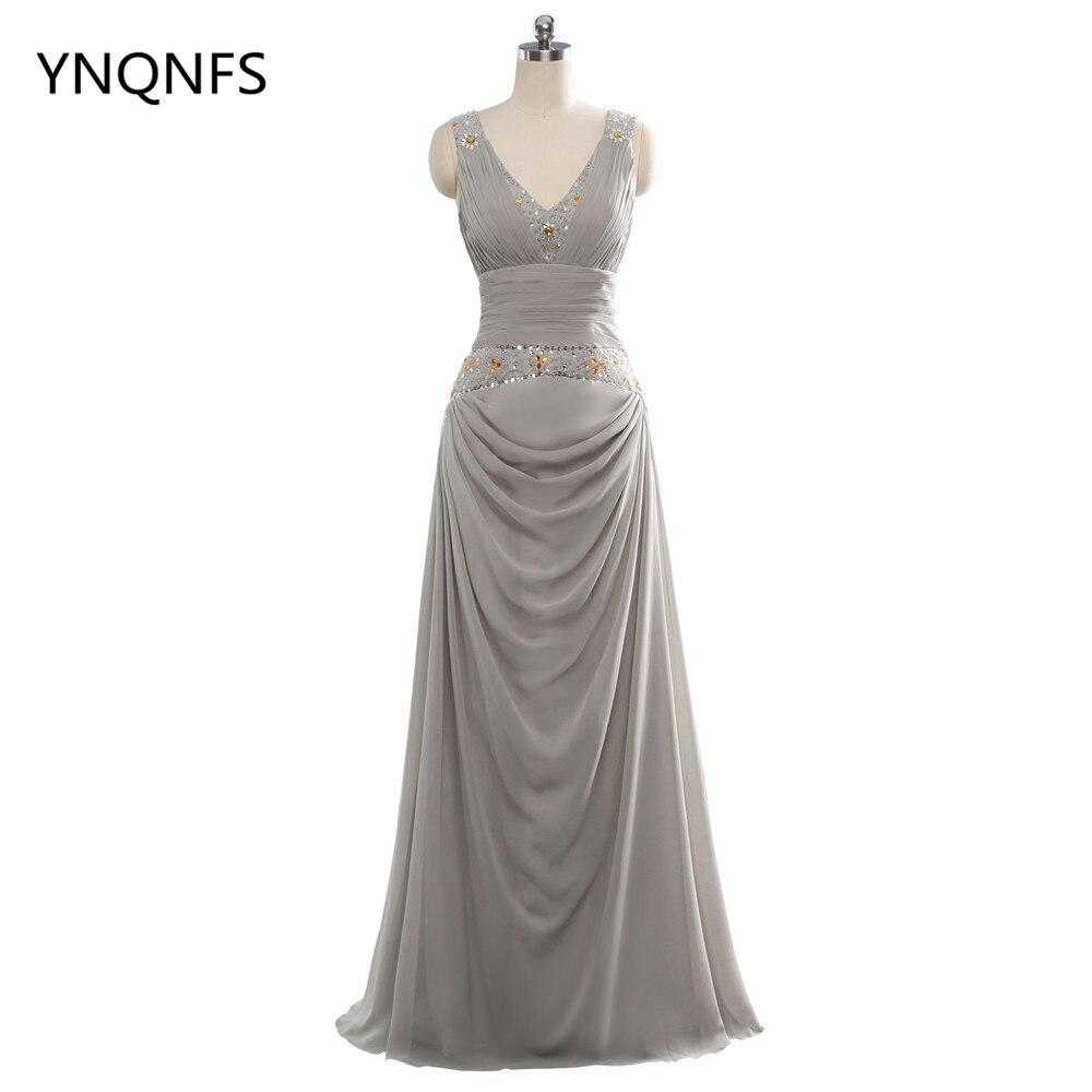 2018 una línea de vestidos largos de noche cuello pico gasa lentejuelas plisado sin mangas envío gratis
