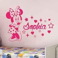 Minnie Duvar Çıkartması Özel Adı Kızlar Yatak Odası Vinil duvar çıkartmaları Çocuk Odası Kişiselleştirilmiş Adı Hayvan Mouse Kreş DecorSYY963