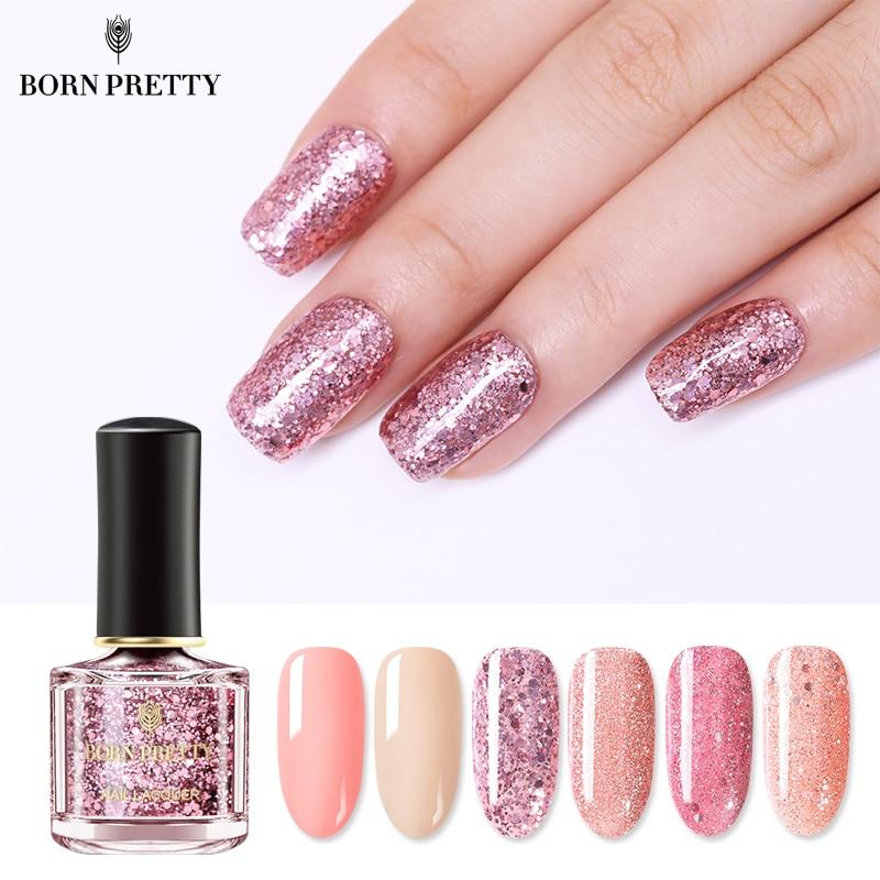 Nacido bastante Series dorada y Rosa esmalte de uñas 6ml Color rosa uñas barniz lentejuelas y brillos para uñas de arte barniz