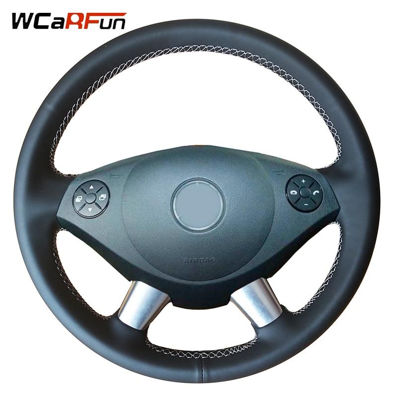 Cubierta de volante wcarbun de cuero negro Artificial para Mercedes Benz Viano E30 639