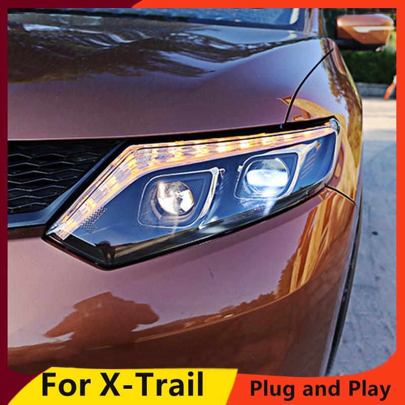 Estilo de coche KOWELL para Nissan x-trail faros 2014-2016 para x-trail LED faro DRL lente doble haz H7 HID Xenon Bi Xenon