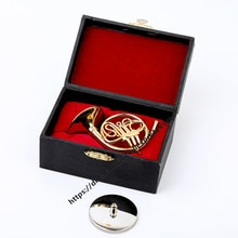 Dh Mini Franse Hoorn Model Muziekinstrument Miniatuur Bureau Decor Display Muziekinstrument Kerstcadeau