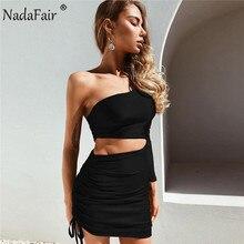 Nadafair Schulter Sexy Sommer Kleid Frauen Langarm Aushöhlen Drapierte Mini Party Club Wrap Bodycon Kleid Rot Weiß schwarz