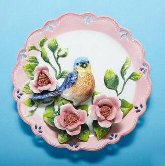 Urraca azul, platos decorativos de porcelana para pared, platos decorativos vintage para el hogar, manualidades decorativas, decoración de habitación, estatuilla de regalo