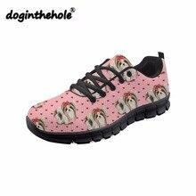 Doginthehole mignon Yorkie impression chaussures plates pour femmes bout rond baskets adolescente filles chaussures en maille confortables appartements dautomne