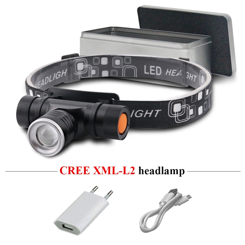 Xm l2 usb led lámpara para cabeza lampe frontale puissante linterna recargable linterna zoom faro 18650 impermeable campamento