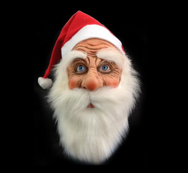 Уличная латексная маска Санта-Клауса с рождеством, милый костюм Санта-Клауса, маскарадный парик, борода, вечерние наряды на Рождество