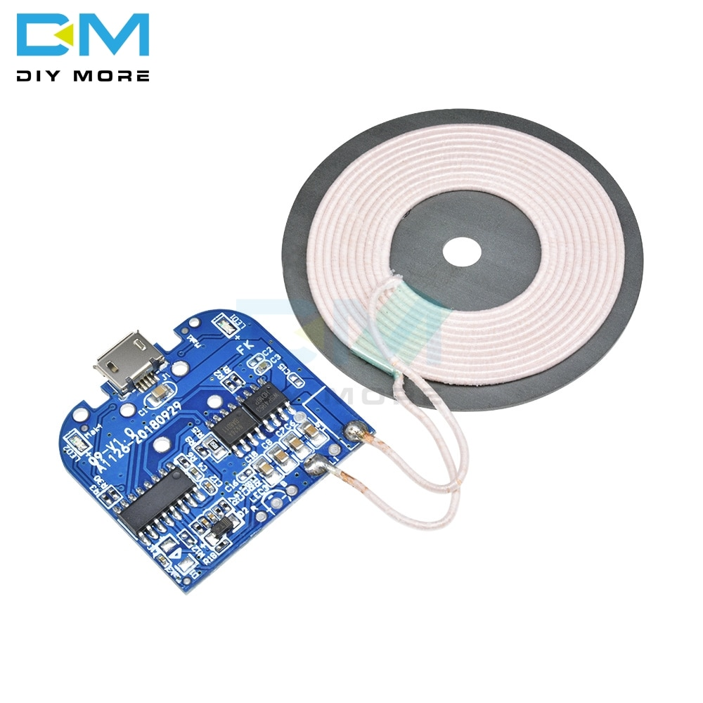 Qi Módulo de cargador receptor estándar de carga inalámbrica para Micro USB teléfono móvil placa del cargador DC 5V 2A 10W electrónica Diy