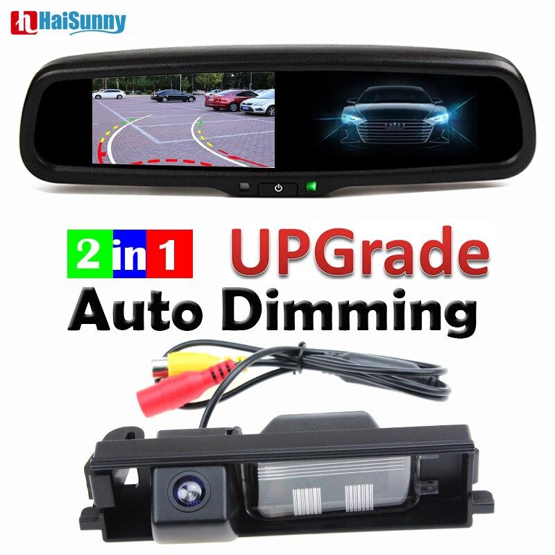 Cámara de aparcamiento para coche línea dinámica con 4,3 pulgadas espejo retrovisor con atenuación automática Monitor para Toyota RAV4 RAV-4 2006-2008, 2009, 2010, 2011, 2012