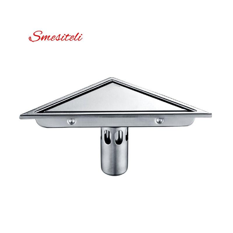 Newly Hidden Type Triangle Tile Insert Floor Waste Grates Shower Drain SUS304 Stainless Steel Floor Drain Bathroom Accessories