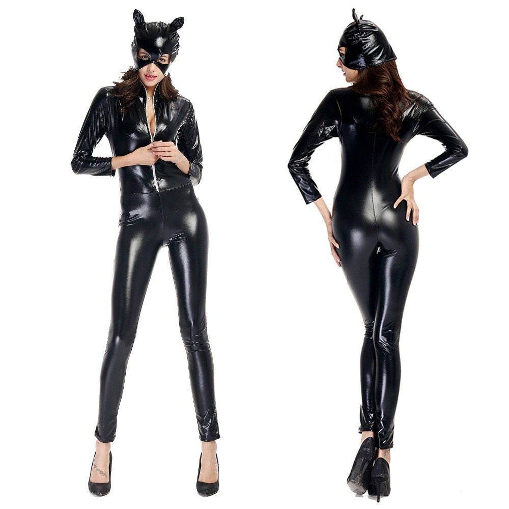 Novo! novo! Adulto cosplay trajes sexy preto falso couro gato macacão feminino látex catwoman clubwear halloween cosplay traje catsuit