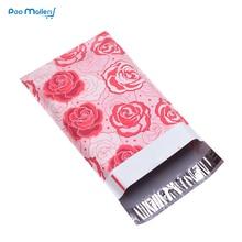 100 stücke 15x23cm 6x9 zoll Rose Liebe muster Poly Mailer Selbst Dichtung Kunststoff Umschlag Taschen