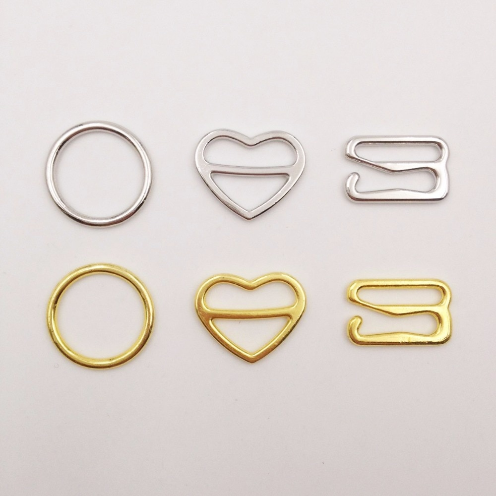 Free shipping 100 pcs / lot  Silver/Gold bra rings heart shape adjusters hooks 8mm/10mm/12mm