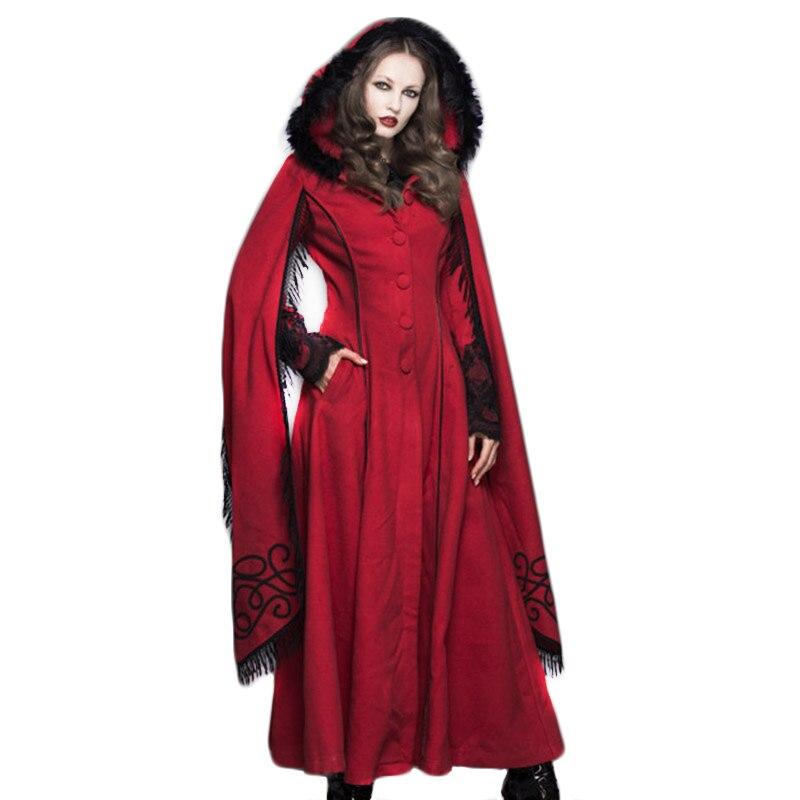 معطف نسائي بقلنسوة من Steampunk ، ملابس نسائية قوطية ، معطف طويل من الصوف بأكمام بوق ، معطف بوم بوم ، معاطف مقاومة للرياح للنساء