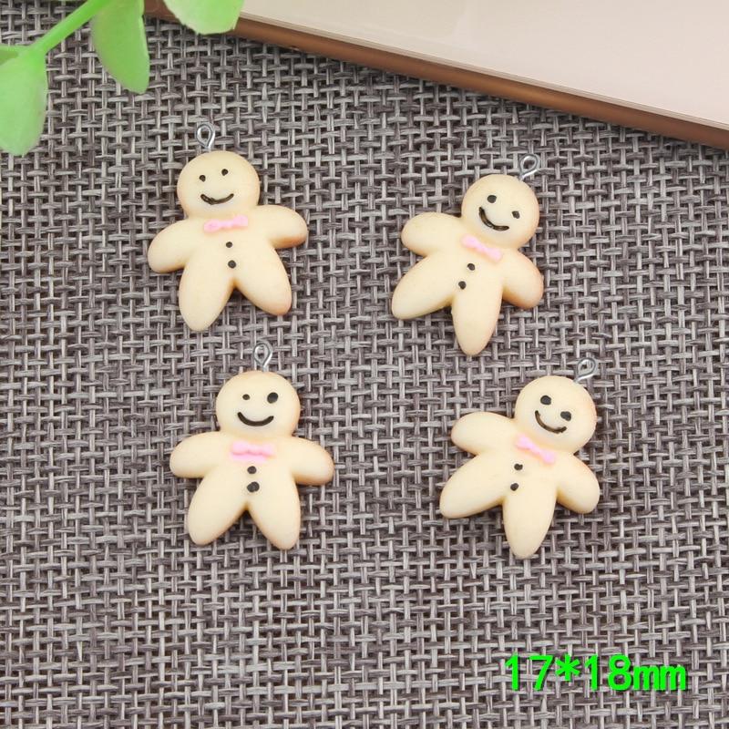 10 Uds. 17*18mm resina de Gingerbread simulada bebé encantos kawaii flatback cabujón pegatina para diy joyería que hace el componente findng