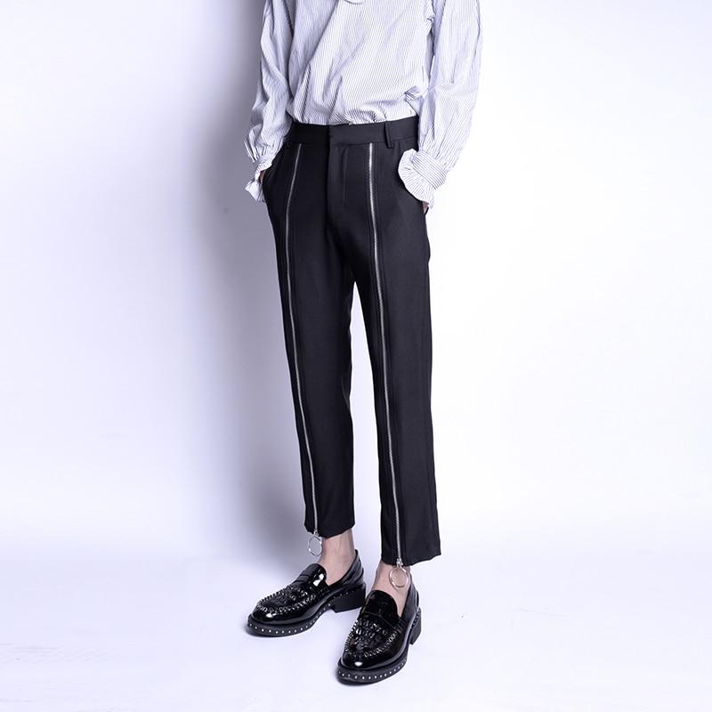 Nuevo estilo versión coreana de punta fina pantalones de nueve centavos decoración de cremallera para hombre de moda de ocio