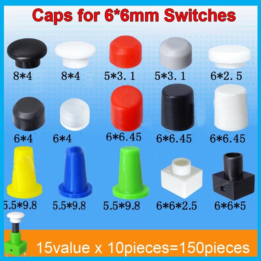 15valuesx10pcs = 150 pcs tátil botão switch cap para 6*6mm micro tato switchs