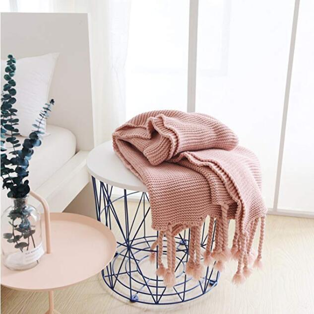 بطانية أريكة مقاس 51 × 67 بوصة ، منسوجة ، سميكة ومريحة ، مع هامش مضفر ، مناسبة لجميع الفصول