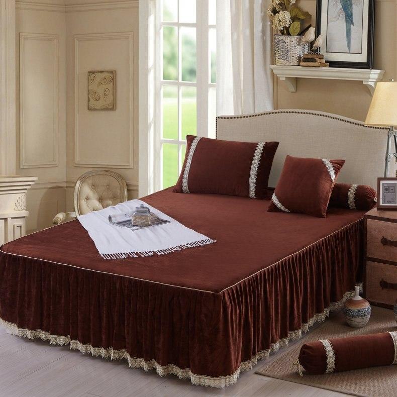 3 peças de lã conjunto saia da cama fronhas Laranja Marrom Cinza Azul cor Vermelha da cama conjunto 1.5x2 m/ 1.8x2 m colchão capa protetora