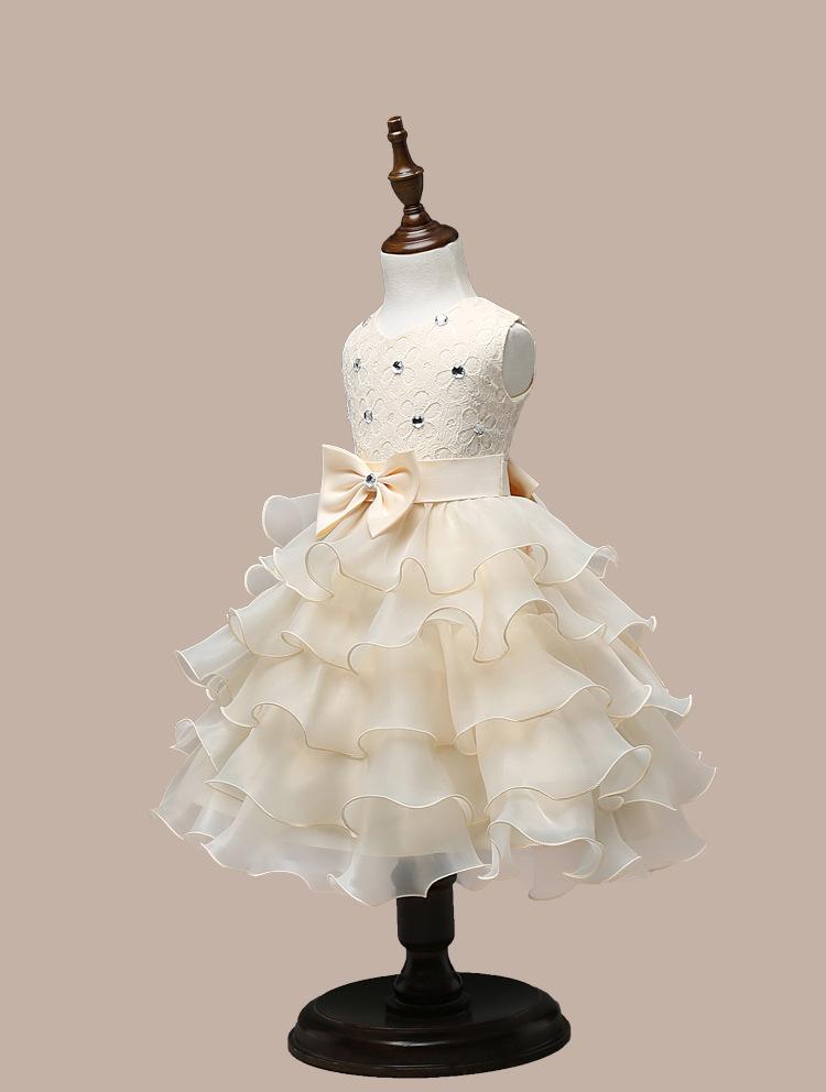 0-7 Years Mutlti Layer White Pink Flower Girl Dress 3