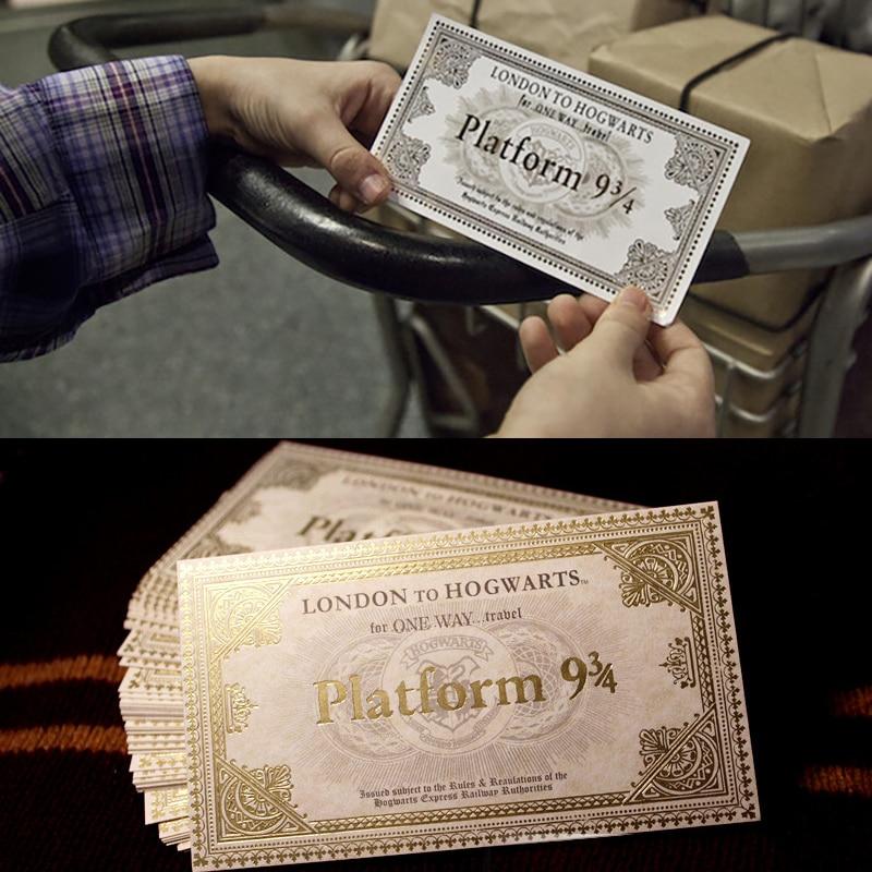 20 piezas/30 uds/50 Uds Hp Hogwart London Express réplica billete de tren dorado papel