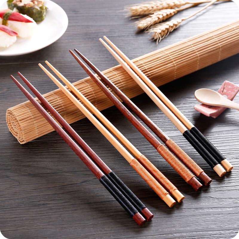 2 pairs/set Wooden Chopstick Retro Japanese Style Anti-Slip Warehouse Sushi Chopstick