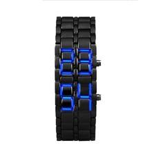 Fashion Male Lava Style Iron Samurai Black Bracelet LED Japanese Inspired Watch BLUE Case Men Watch Black Luxury Steel Clock