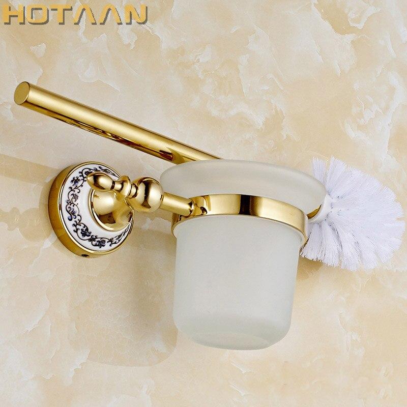 Envío Gratis soporte de cepillo de baño, Base de construcción de cerámica + latón sólido, accesorios de baño YT-11812G