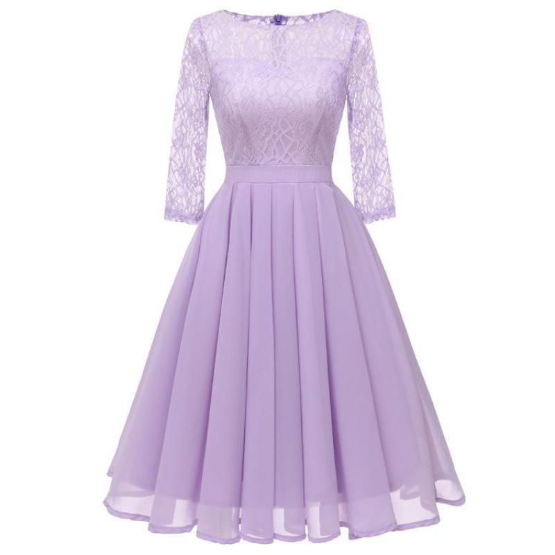 Vestidos Dama De Honor Cortos 2020 Lace Chiffon 3/4 Sleeve Bridesmaid Dress Elegant A Line Wedding Party Women Guest Dresses