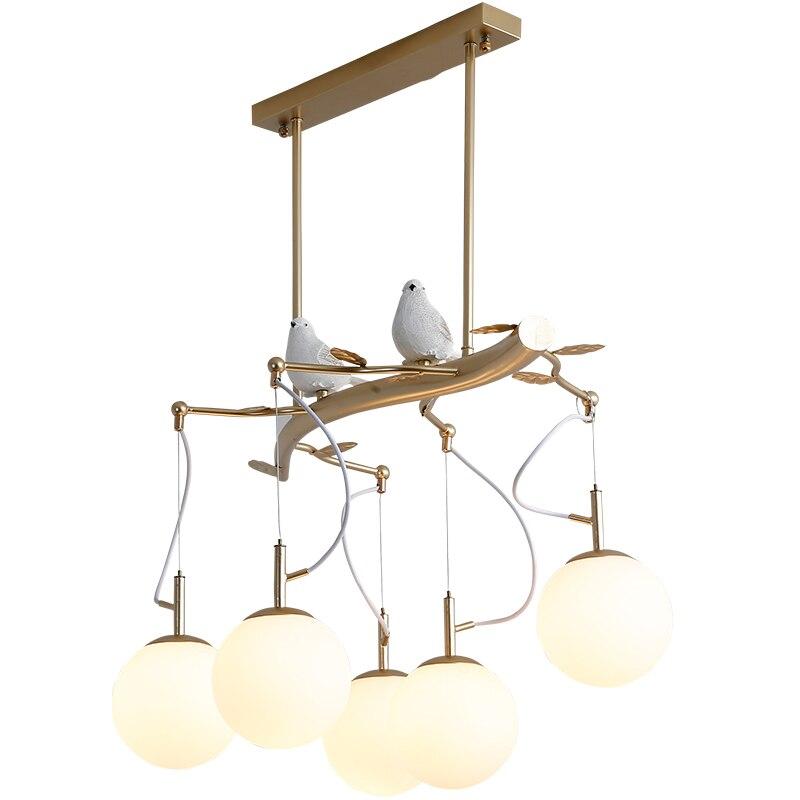 Nórdicos LED E27 cocina comedor y Bar colgante luces pájaro sala de estar de lujo café biblioteca colgante lámparas decorativas Avize