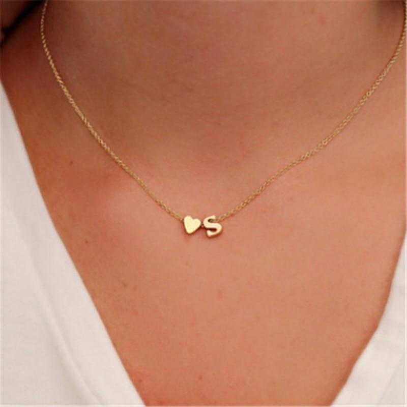 Модное крошечное сердце изящное начальное A-Z 26 БУКВЕННОЕ имя колье ожерелье для женщин золотой цвет кулон ювелирные изделия подарочные аксессуары