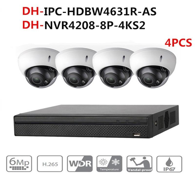 Dahua cctv câmera sistema de segurança kit 4pcs 6mp ip câmera IPC-HDBW4631R-AS & 8poe 4k nvr NVR4208-8P-4KS2 vigilância por vídeo