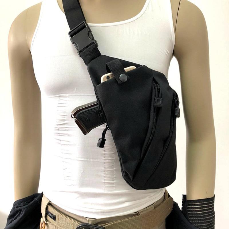 Bolsa de almacenamiento táctica oculta multifuncional, bolsa de transporte para pistola, pistolera para hombres, bolso de hombro derecho/izquierdo, bolsa antirrobo para el pecho