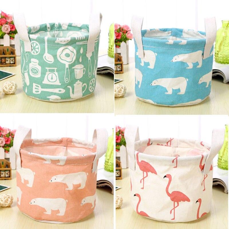 Bolsas de cesta de almacenamiento de impresión de lino de algodón con asa plegable de escritorio residuos organizador a prueba de agua cestas de almacenamiento
