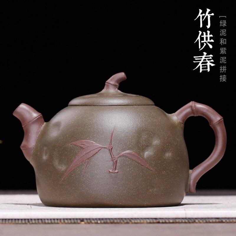 Yixing púrpura arena Teaware mineral mina verde barro bambú Festival para la primavera Hulu olla